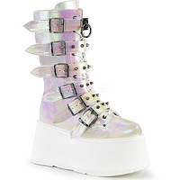 Demonia Pearl Holographic Studded Mid-Calf Platform Boots