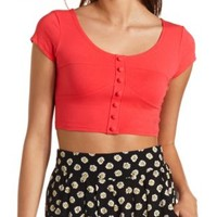 Button-Up Cotton Crop Top by Charlotte Russe