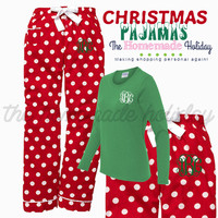 Christmas Polka Dot Pajama Set, Long Sleeve