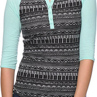 Empyre Knox Black & Mint Tribal Print Henley Shirt