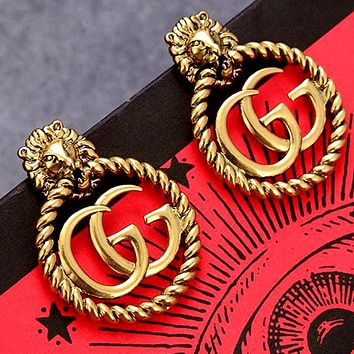 GUCCI Vintage Women's Lion Head Stud Earrings