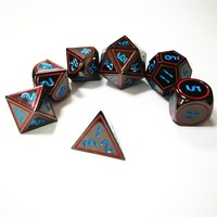 Dungeons &dragons 7 / set up creative RPG dice d&d metal dice, galvanized black nickel blue and red fonts