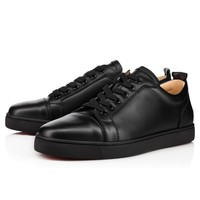 Christian Louboutin CL Louis Junior Men's Flat Black/black Leather Classic Sneakers Best Deal Online