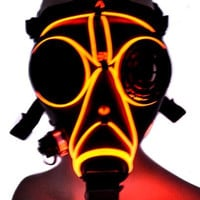 Cyber Punk El Wire Red Glow Gas Mask Cosplay Halloween Costume