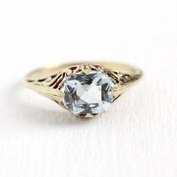 Vintage Aquamarine Ring - 14k Yellow Gold Genuine Icy Light Blue Gem 1.28 CT March Birthstone - Size 6 Art Deco 1930s Filigree Fine Jewelry