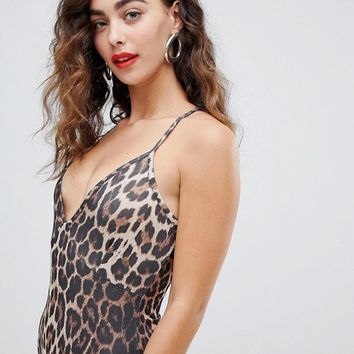 New Look Leopard Print Strappy Body at asos.com