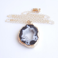 Geode Necklace in Gold - Drusy Necklace - Druzy Jewelry - OOAK Jewelry