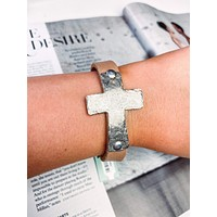 Women's Exotic Leather Bracelet with Hammered Cross