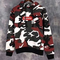 Supreme Camouflage Embroidery Top Sweater Hoodie Red I