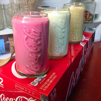 Coke Glass Candle, sented, pumpkin, vanilla, passion fruit, soy wax, eco wick, coca-cola