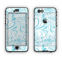 The Light Blue Droplet Sprout Pattern Apple iPhone 6 Plus LifeProof Nuud Case Skin Set