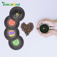 4 Pcs Vinyl CD Record Coasters Home Cup Mat Pad Kitchen Decor Coffee Drink Placemat Kitchenware