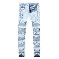 Stretch Men's Fashion Ripped Holes Slim Men Pants Jeans [264170897437]