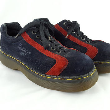 Vintage Dr. Martens Black & Red Striped Suede Oxford Ankle Boot UK 10 US Men's 11 Made in England 90's Grunge Bowler Style Shoes
