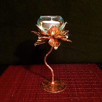 Gold Lotus Pedestal Candle Holder | Thai Metal Art | 7 Inch