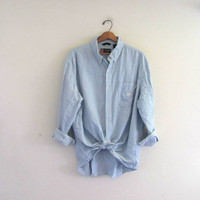 vintage blue and white pinstriped. button down shirt. oversized cotton shirt. mens size XL