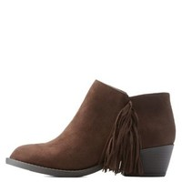 Brown Side Fringe Ankle Booties by Charlotte Russe