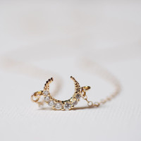 Gold Crystal Crescent Moon Necklace, 16k gold Moon, Sideways Moon Crescent Necklace, Twilight Jewelry, Minimalist Crescent Moon, Dainty Moon