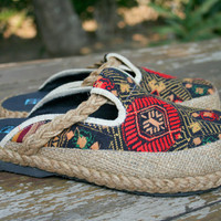 Womens Embroidered Shoes in Ethnic Laos Slip On Vegan Slides - Sydney