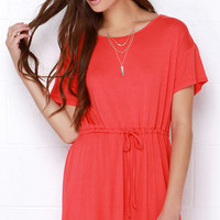 Tie As I May Coral Red Dress