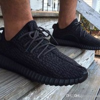 (With Origina Box)l Yeezy Boost 350 Pirate Black Low Sport Running Shoes Women and Men Footwear Shoes Training Boots Accepted dropshipping