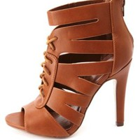 Single Sole Cut-Out Lace-Up Heels by Charlotte Russe - Tan