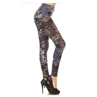 """A Touch of Heaven""  Blue Mocha Swirl Print Leggings"
