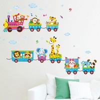 Super Deal Carton Animals train Removable Kids Baby Nuresery Vinyl Wall Stickers Art Decor wall stickers for kids rooms XT