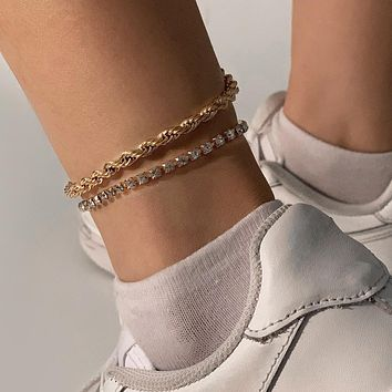 Gold Silver Color Crystal Rope Shape Metal Anklet Beach Handmade Beaded Anklet Jewelry Gift
