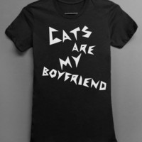 Cats are my Boyfriend Black Tshirt - 100% Fine Cotton Jersey - Available in Sizes S-2XL