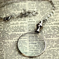 Silver Monocle Necklace by ragtrader on Etsy