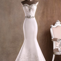 Custom Made Real Sample Elegant Strapless Sweetheart Beads Mermaid Wedding Dress with Lace 2015/Bridal Gowns