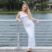 Strapless swimsuit cover up maxi dress