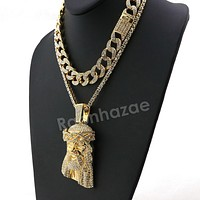Hip Hop Quavo Jesus Face Miami Cuban Choker Tennis Chain Necklace L29