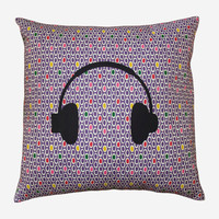Handmade pillow cover - Purple pattern, with a black headphones silhouette - 18x18 inches- Decorative pillow