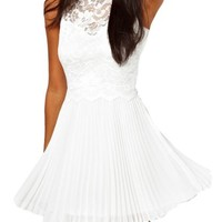 Women's Sexy Pleated Lace Skater Pure White Prom Tunic Cocktail Evening Dress