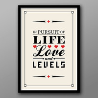 Life Love and Levels // Custom Geek Typography Quote // Red, Cream and Black Romance Poster