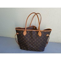Tagre™ Louis Vuitton Monogram Canvas Neverfull MM Brown Tote Bag