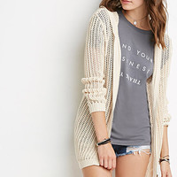 Zippered Open-Knit Hoodie