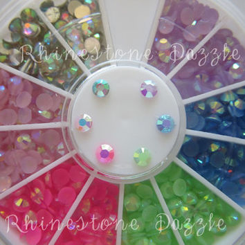 600pcs 3mm Mix Colors of Jelly AB Resin Rhinestone in a Storage Wheel, rhinestone nail art, cabochon, kawaii, decoden, assorted rhinestones