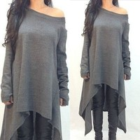 Plus Size 3XL Fashion Autumn Knitted Dress Women O-neck Long Sleeve Knitted Sweater Dress Loose Casual Solid Irregular Vestidos