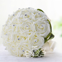 2015 New Wedding Dec Bridal Bouquet Rose Silk Pearls Handmade Bridesmaid Flowers Posy Bridal Hand Hold Flowers WYF107 (Color: Beige) = 1933150468