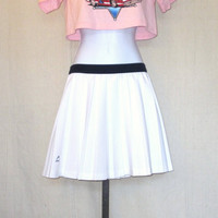 Vintage Deadstock 80s PLEATED TENNIS Head Athletic Flowing Women Small Work Out Casual Stylish Polyester SKIRT