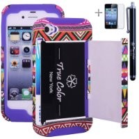 Rugged High Impact Aztec Tribal Ethnic Credit Card Holder Wallet Soft + Hard Hybrid Combo Case Cover for Apple iPhone 4 4s + Stylus + Screen Protector - Black