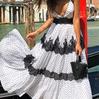 Embrace Life White Black Polka Dot Pattern Sleeveless Tie Spaghetti Straps Cross Wrap V Neck Lace Trim Casual Maxi Dress - Sold Out