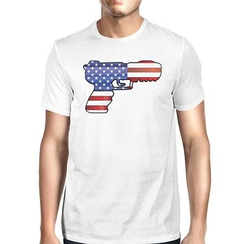 American Flag Pistol Mens Tee Unique Patriotic Gift For 4th Of July