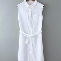White Lace Up Sleeveless Collar Button Down Dress