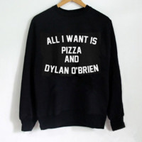Hoodie Sweater ALL I Want IS Pizza And Dylan O'Brien