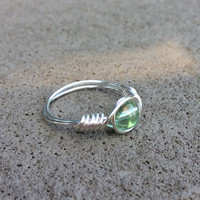 Mint green ring, wire wrap, nickel free, silver plated, handmade,custom size