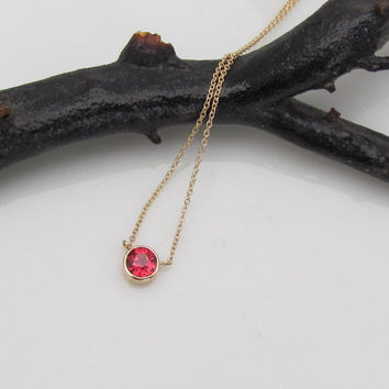 14k Gold Ruby Necklace Bezel Set Pendant with 18in Yellow Gold Cable Chain Christmas Birthday Gift for Her